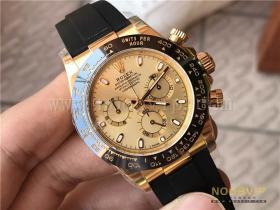 N厂劳力士迪通拿m116518ln-0042金盘胶带腕表实拍评测