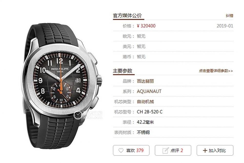 YL厂百达翡丽AQUANAUT系列5968A-001腕表 第1张