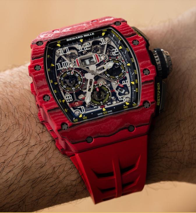 Richard Mille RM 11-03自动反激计时码表红色石英FQ TPT手表 第3张