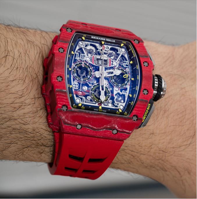 Richard Mille RM 11-03自动反激计时码表红色石英FQ TPT手表 第6张