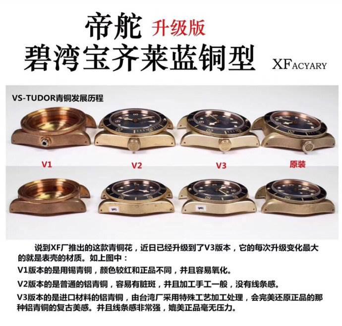 XF厂帝舵碧湾宝齐莱蓝铜花V3版对比评测 第6张