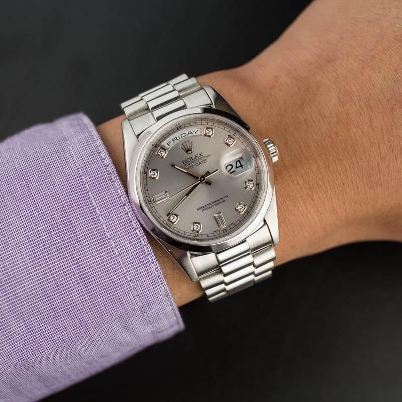 他和她的劳力士白金总统手表