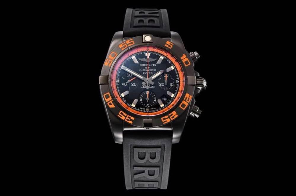 GF厂百年灵终极计时黑鹰橙圈评测Chronomat 44 Raven 第3张