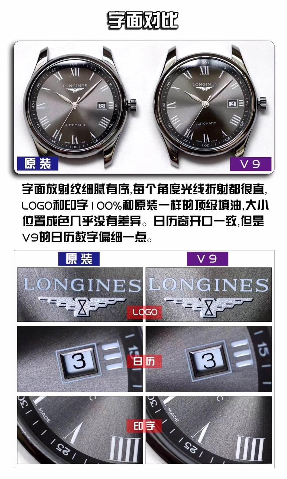 V9厂浪琴名匠三针日历40mm复刻表深度评测
