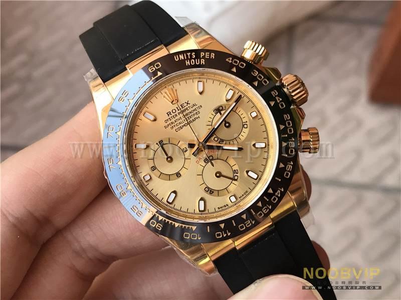 N厂劳力士迪通拿m116518ln-0042金盘胶带腕表实拍评测插图