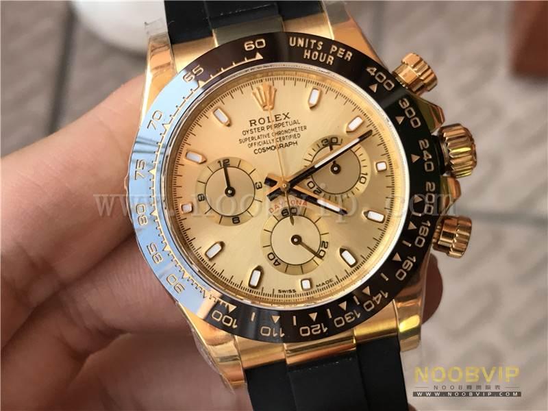 N厂劳力士迪通拿m116518ln-0042金盘胶带腕表实拍评测插图6