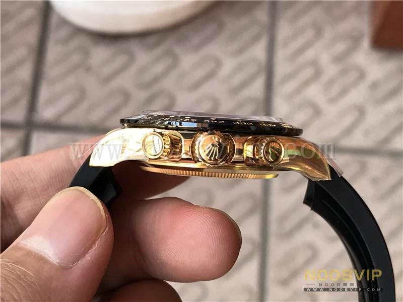 N厂劳力士迪通拿m116518ln-0042金盘胶带腕表实拍评测插图18