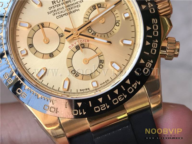 N厂劳力士迪通拿m116518ln-0042金盘胶带腕表实拍评测插图12